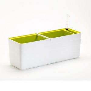 Bílo-zelený samozavlažovací truhlík Plastia Berberis , délka59 cm