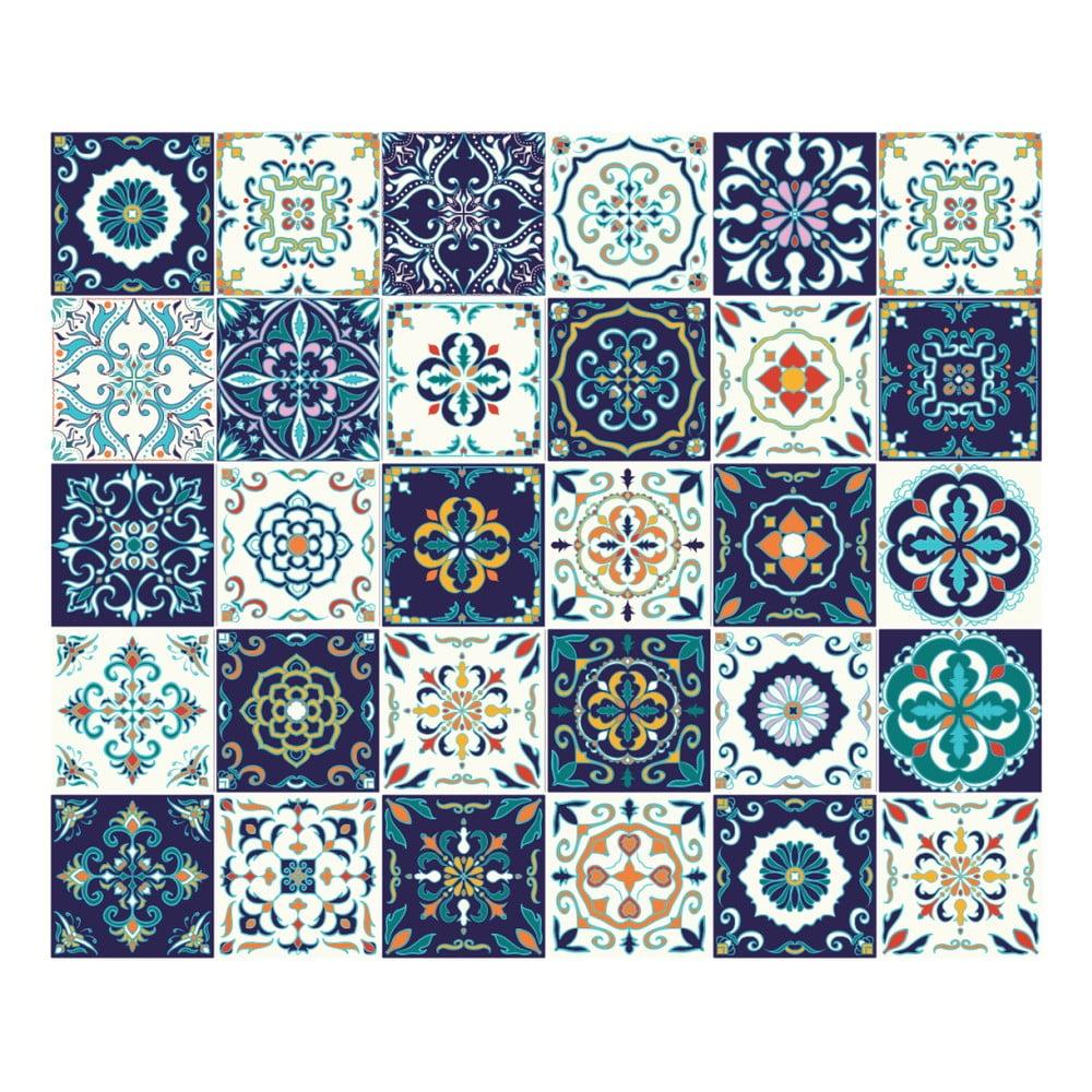 Sada 30 nástěnných samolepek Ambiance Tiles Azulejos Forli, 10 x 10 cm