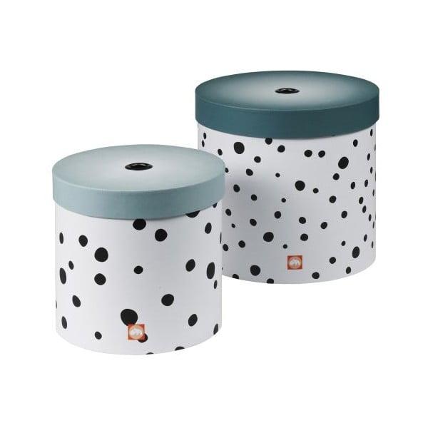 Set kulatých úložných boxů Happy Dots, modrý