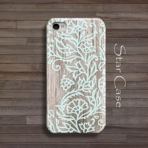 Obal na iPhone 4/4S Wood Floral Blue