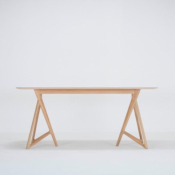 Jídelní stůl z masivního dubového dřeva se zelenou deskou Gazzda Koza, 180x90cm