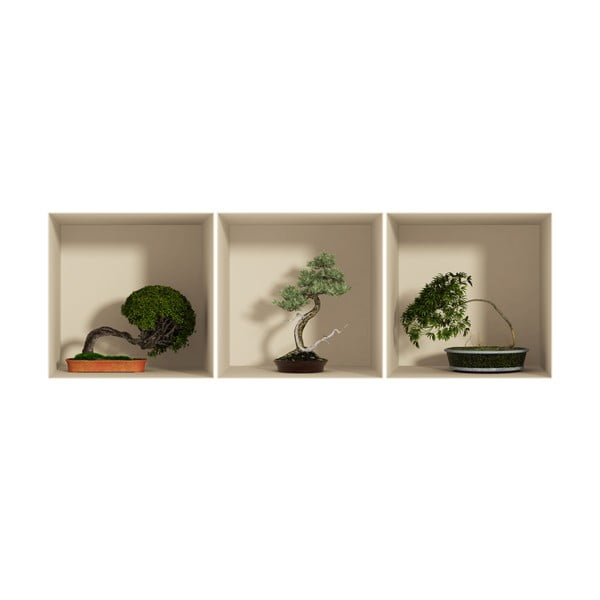 Sada 3 samolepek s 3D efektem Ambiance Bonsais