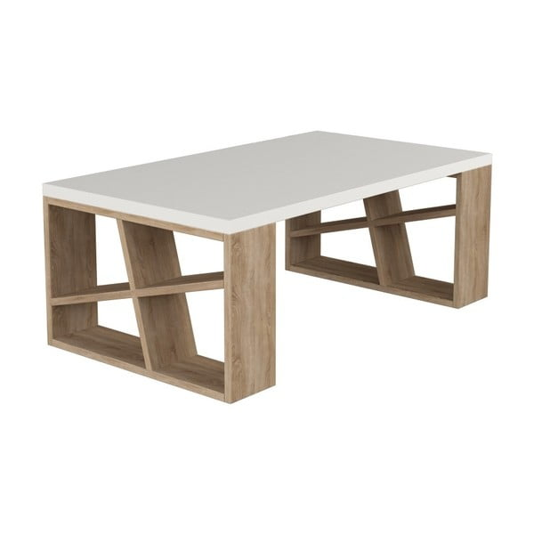 Stolik w dekorze dębowego drewna z białym blatem Honey Light