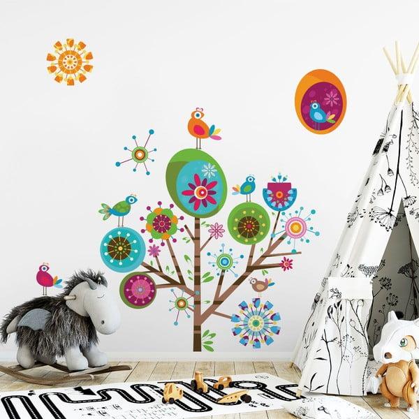 Set autocolante de perete pentru camera copiilor Ambiance Multicolor Tree
