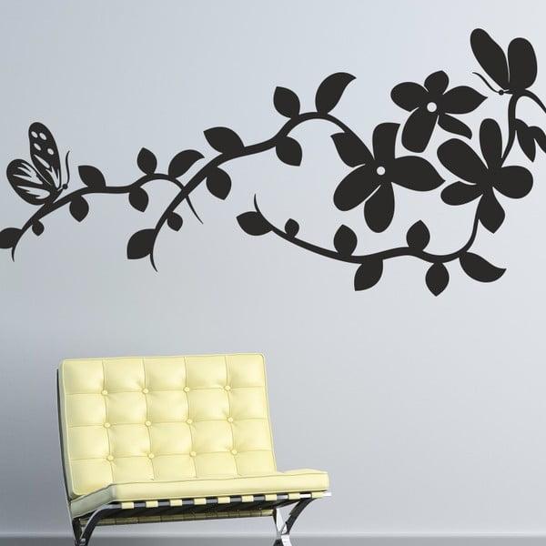Samolepka na stěnu Ornament s květy, černá