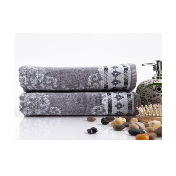 Sada 2 ručníků Sophia Grey, 50x100 cm