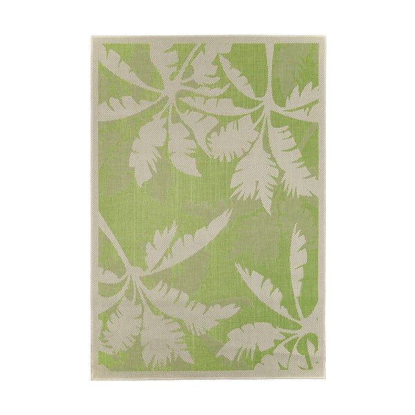 Zeleno-béžový venkovní koberec Floorita Palms, 160 x 230 cm
