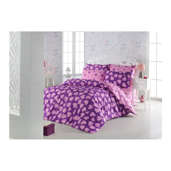 Pari Purple kétszemélyes pamutkeverék ágyneműhuzat garnitúra, 200 x 220 cm