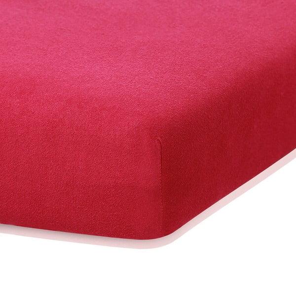 Bordó Červená elastická plachta s vysokým podielom bavlny AmeliaHome Ruby, 200 x 100-120 cm