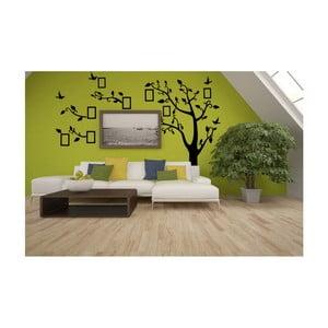 Dekorativní samolepka Černý strom vpravo s fotorámečky, 180x250 cm