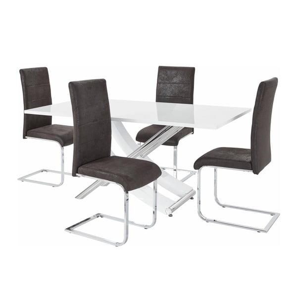 Sada stolu a 4 tmavě šedých židlí Støraa Carl