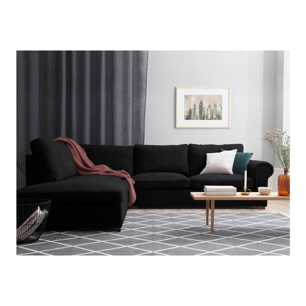 Černá pohovka Windsor & Co Sofas Hermes, levý roh