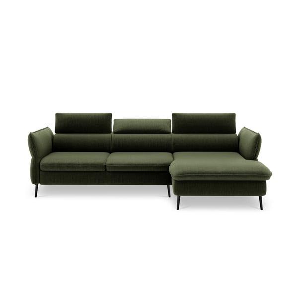 Lahvově zelená pětimístná rozkládací pohovka s úložným prostorem Milo Casa Dario, pravý roh