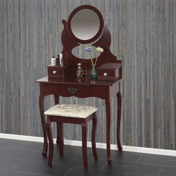Toaletní stolek s taburetkou Mendler Brown