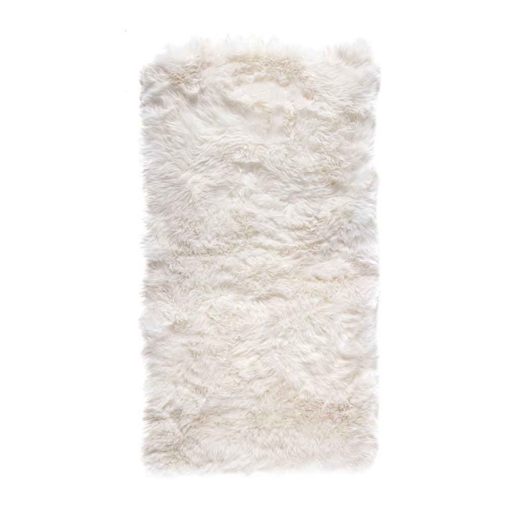 Bílý obdélníkový koberec z ovčí vlny Royal Dream Zealand, 140 x 70 cm