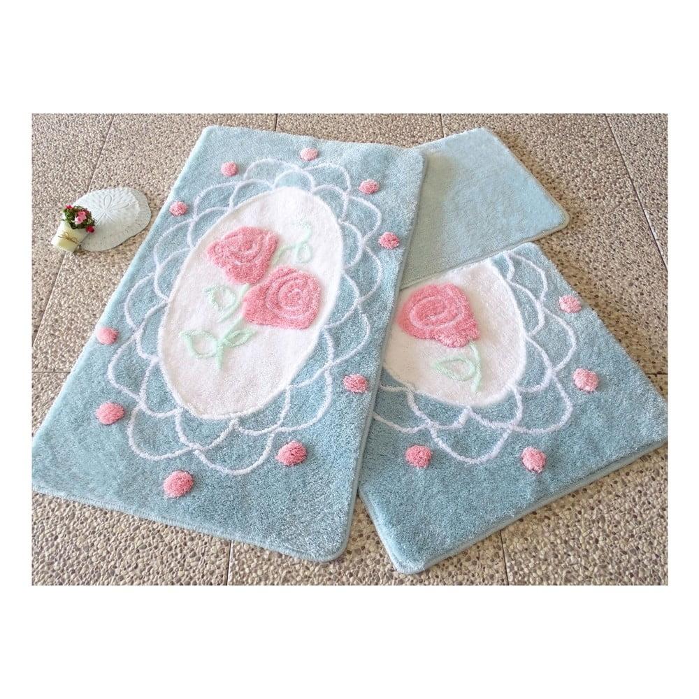 Sada tří modrých koupelnových předložek s motivem růží Knit Knot