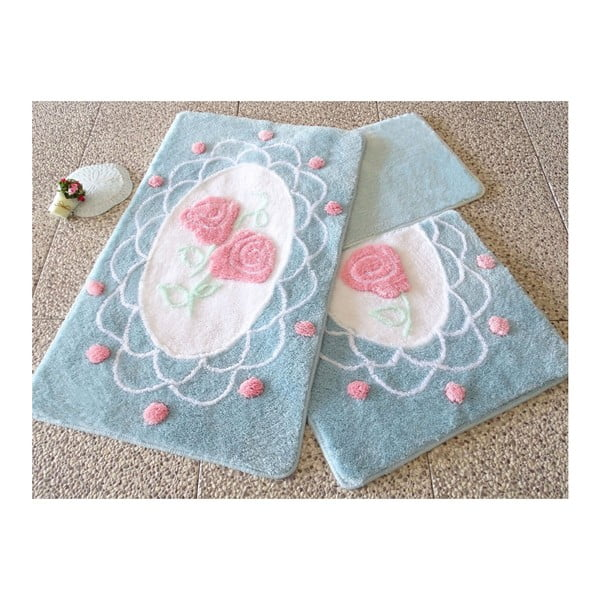 Zestaw trzech modrých dywaników łazienkowych z motywem róż Knit Knot