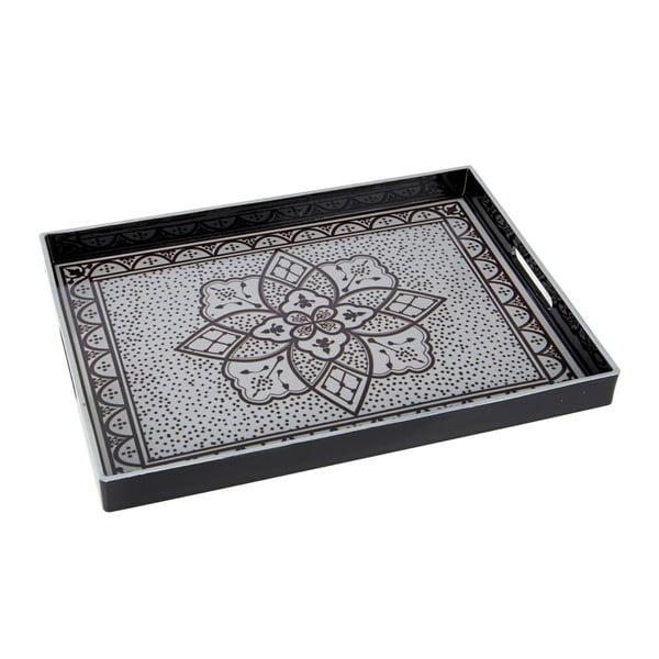 Plastový podnos, 48x4 cm, černo-bílý