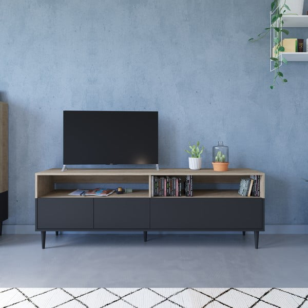 Černý TV stolek v dekoru dubového dřeva Symbiosis Horizon