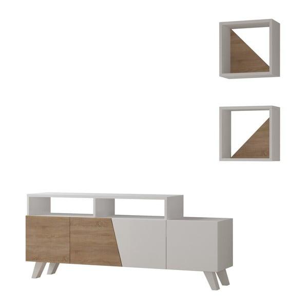 Komplet białej szafki pod TV i 2 półek Homitis Cafune