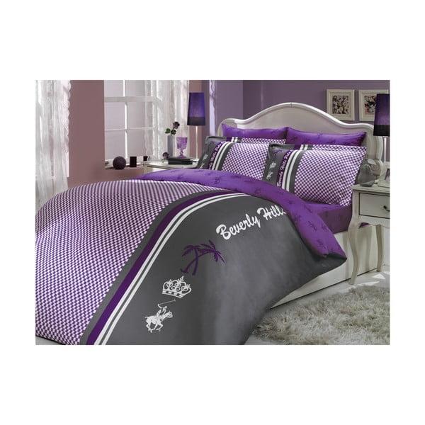 Povlečení 14 Purple 200x220 cm, s prostěradlem