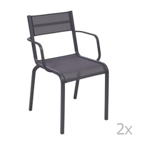 Sada 2 modrofialových kovových zahradních židlí Fermob Oléron Arms