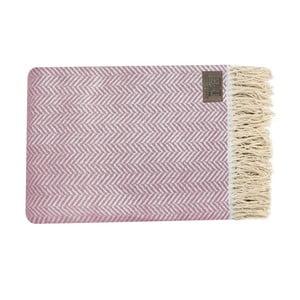 Růžový bavlněný pléd Zig, 130x170cm