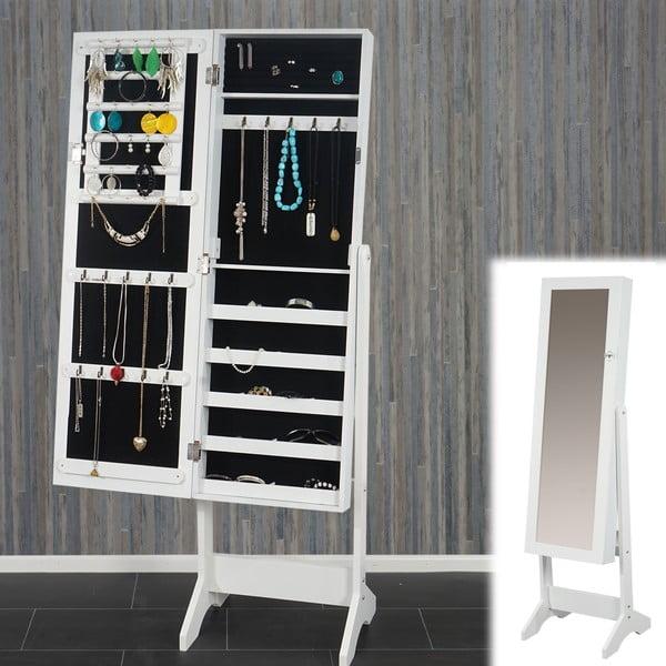 Stojací zrcadlo se šperkovnicí Mendler White, 150x37 cm
