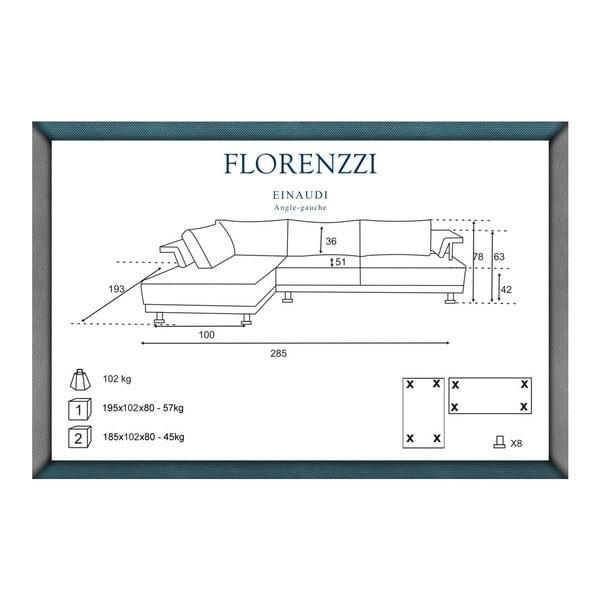 Hnědá pohovka Florenzzi Einaudi s lenoškou na levé straně