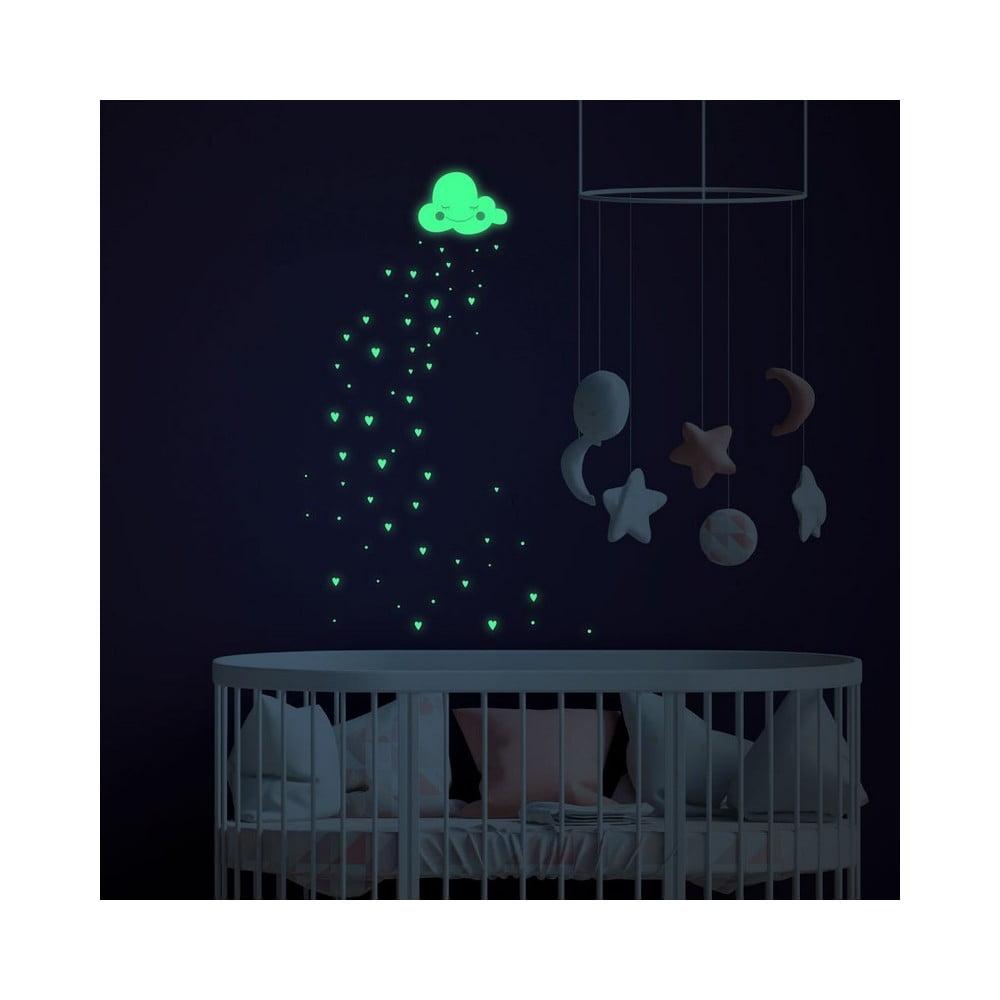 Svítící samolepky na zeď Ambiance Hearts and Clouds