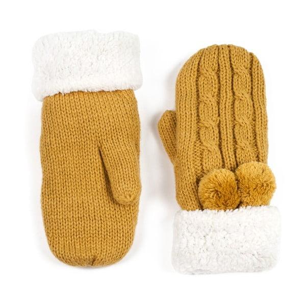 Musztardowe damskie rękawice z palcem Art of Polo