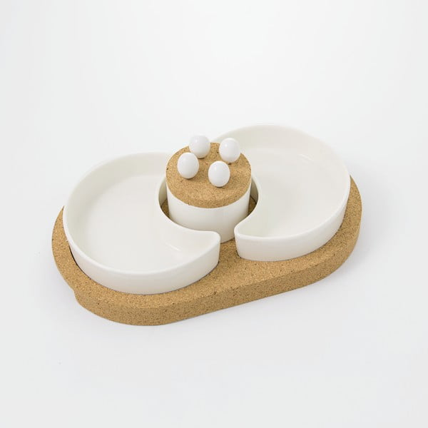 Servírovací misky s korkovým podnosem Cork, 31x19 cm