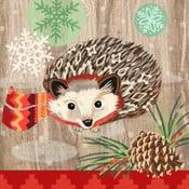 Set 10 șervețele din hârtie cu motive de Crăciun PPD Hedgehog With Scarf