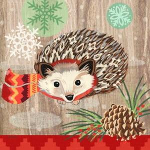 Balení 10 papírových ubrousků s vánočním motivem PPD Hedgehog With Scarf