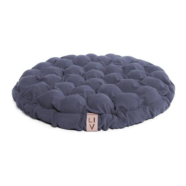 Niebieskoszara poduszka do siedzenia wypełniona piłeczkami do masażu Linda Vrňáková Bloom, Ø 65 cm