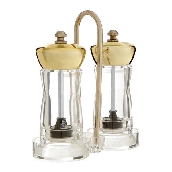 Set râșnițe pentru sare și piper cu suport Premier Housewares Mill, auriu