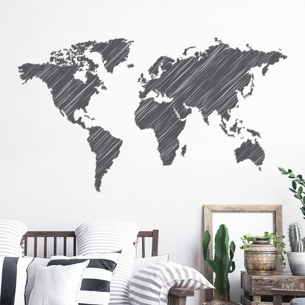 Nástěnná samolepka Ambiance World Map Pencil Stroke