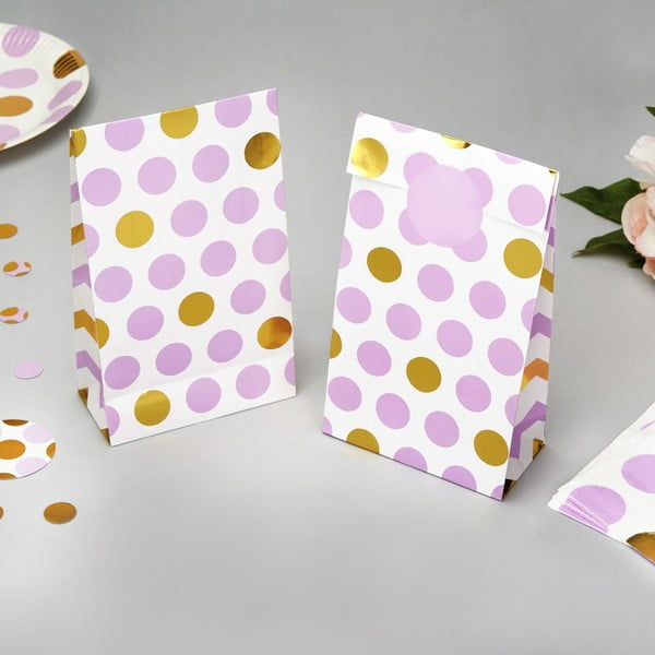 Set 5 pungi din hârtie pentru cadouri Neviti Pattern Works Dots