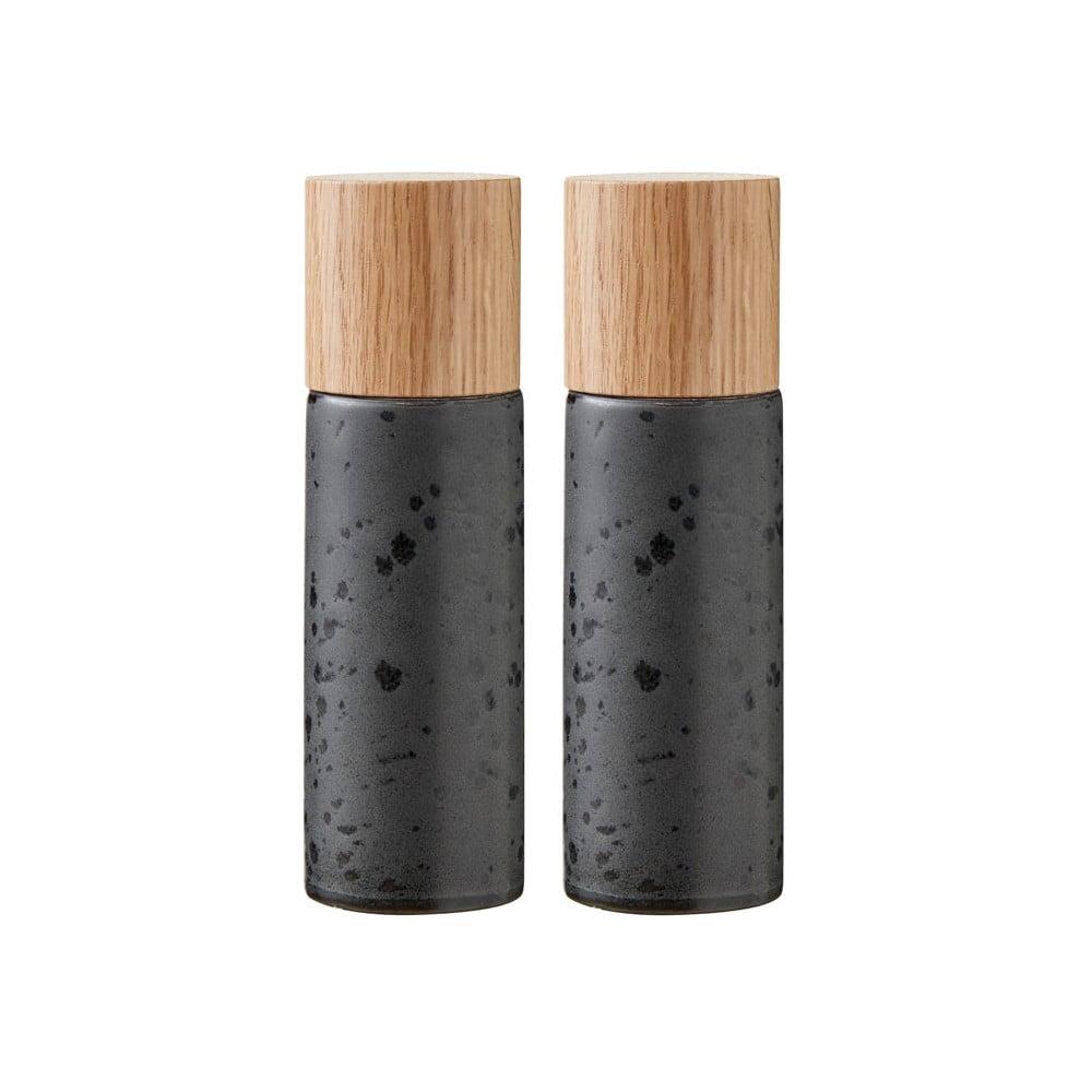 Sada 2 černých kameninových mlýnků na sůl a pepř Bitz Basics Black