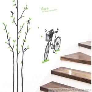 Samolepka Green Tree and Bike, 50x50 cm