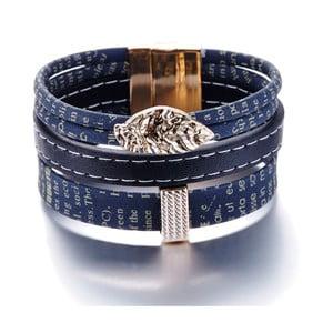 Tmavě modro-černý kožený náramek s elementy Swarovski