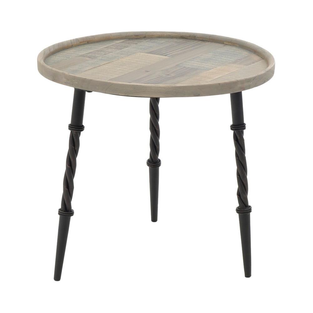 Dřevěný příruční stolek s kovovými nohami InArt, ⌀ 56 x 50 cm