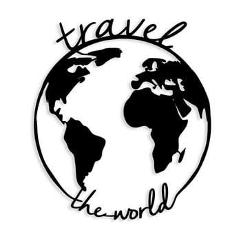 Decorațiune metalică de perete Travel The World, 55 x 62 cm, negru imagine