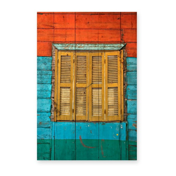 Tablou din lemn de pin Really Nice Things Colorful Window, 40 x 60 cm