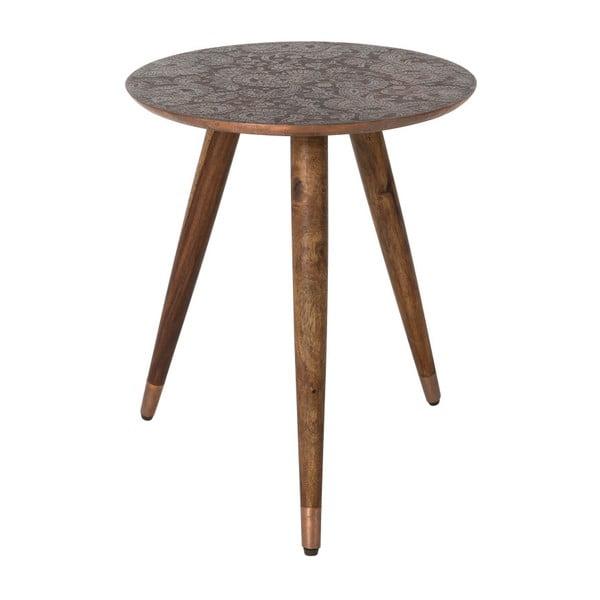 Měděný odkládací stolek Dutchbone Bast, ⌀ 40 cm