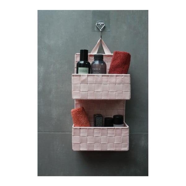 Bristol világos rózsaszín kétszintes fali tároló - Compactor