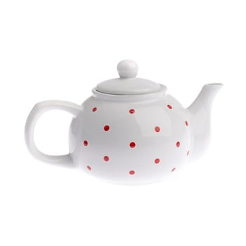Ceainic din ceramică Dakls Dots, 1 l, alb