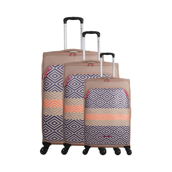 Zestaw 3 beżowo-niebieskich walizek z 4 kółkami Lulucastagnette Peruana