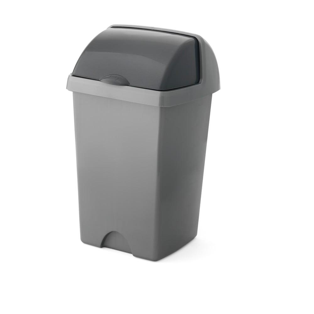Větší šedý odpadkový koš Addis Roll Top, 31 x 30 x 52,5 cm
