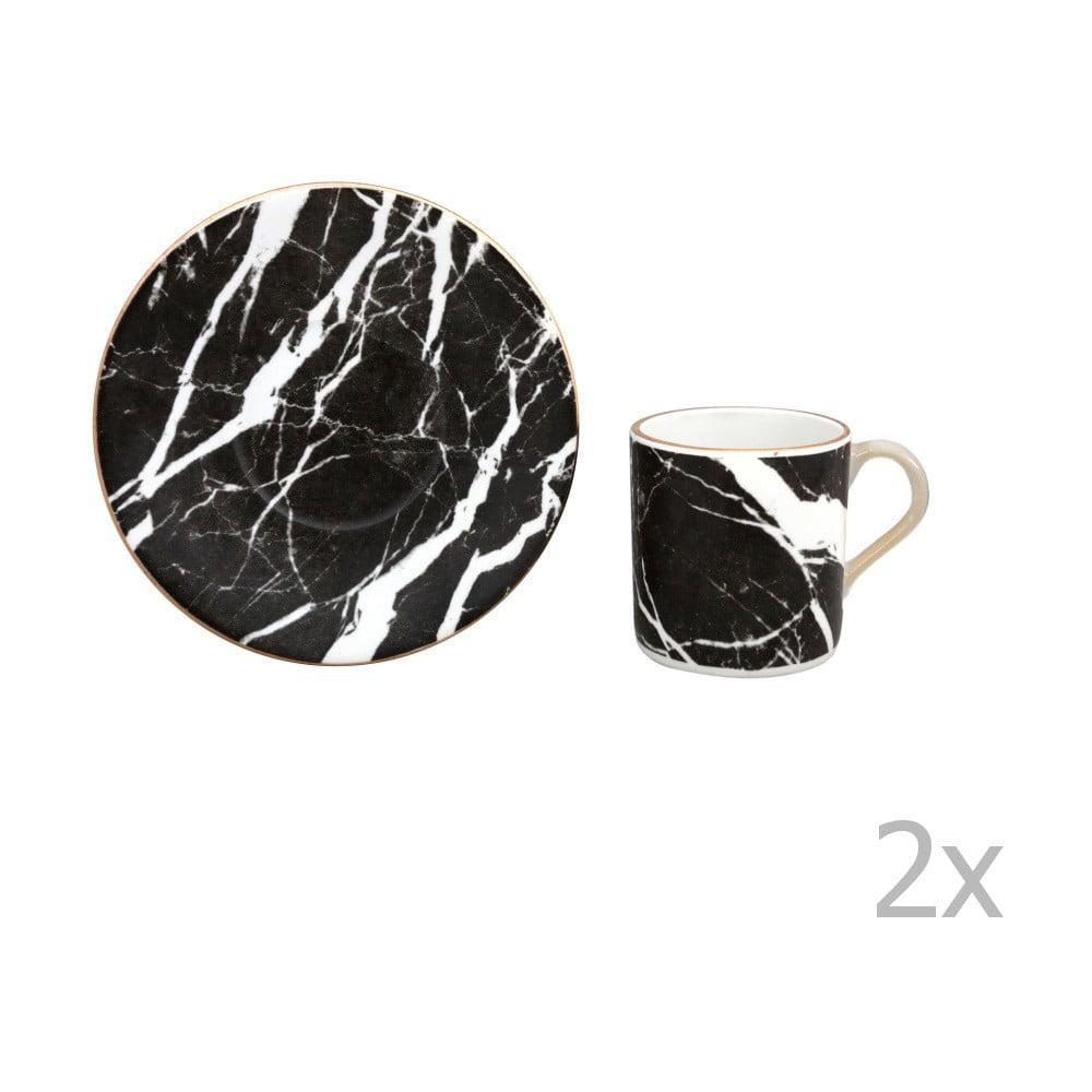 Sada 2 porcelánových šálků s podšálky Vivas Marble, 330ml